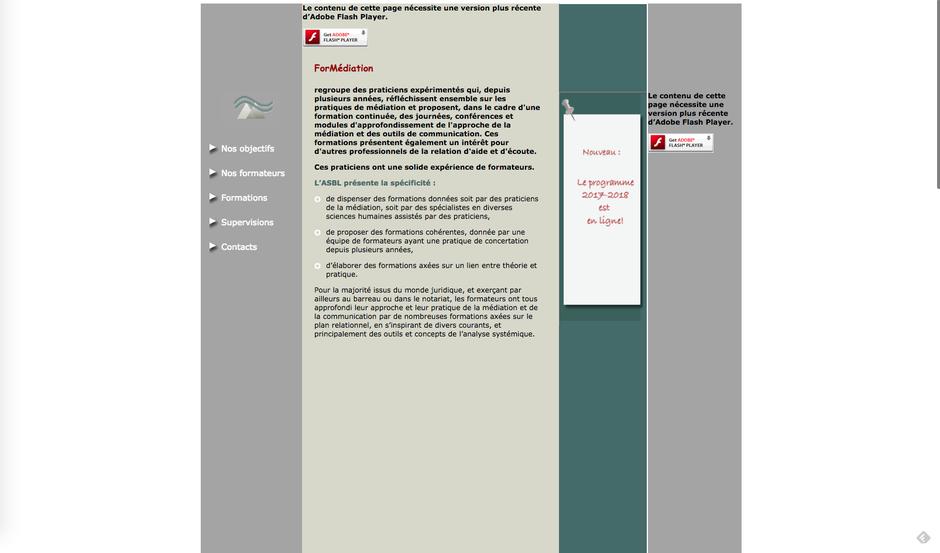 L'ancien site de ForMédiation créé et maintenu avec Dreamweaver
