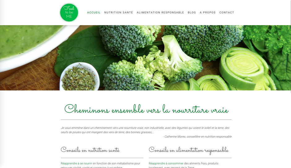 Le nouveau site de Food to be Me (design Rome)