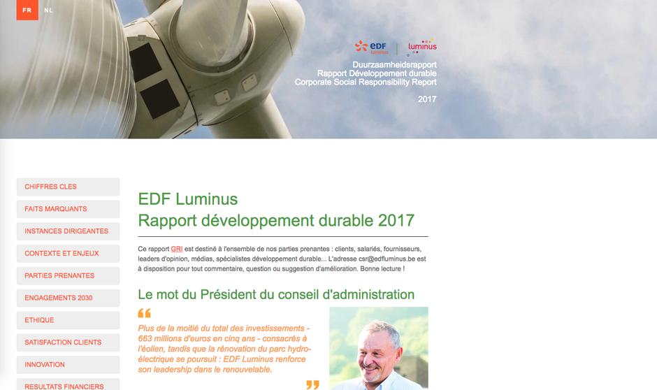 Le rapport RSE en ligne de EDF Luminus