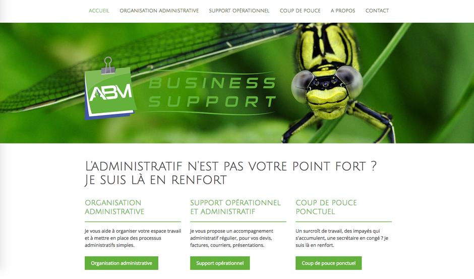 """Le site d'ABM Business Support créé """"à quatre mains"""" avec Jimdo : résultat après 4 heures de travail"""