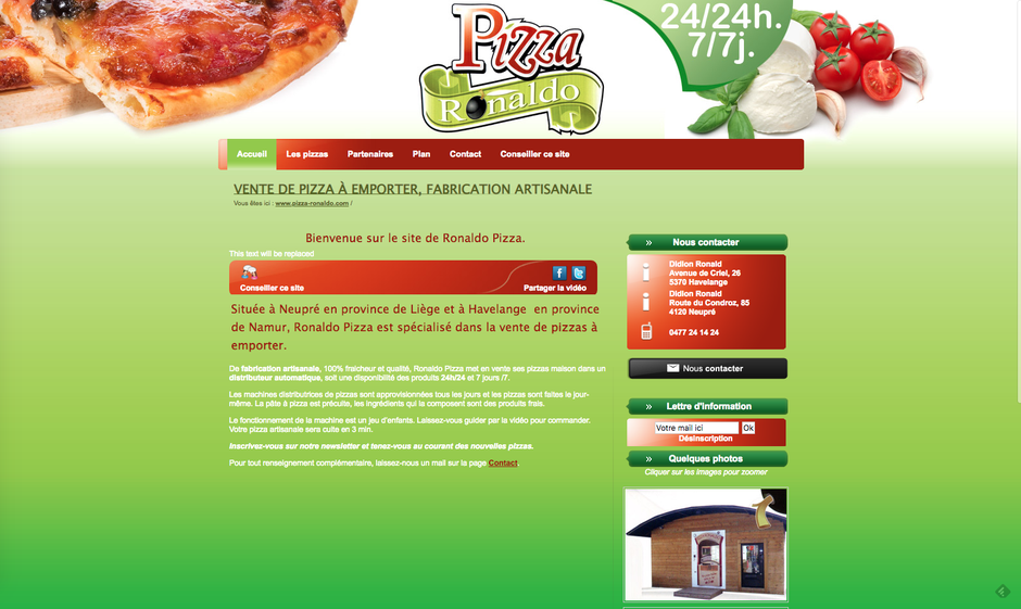 L'ancien site de Pizza Ronaldo