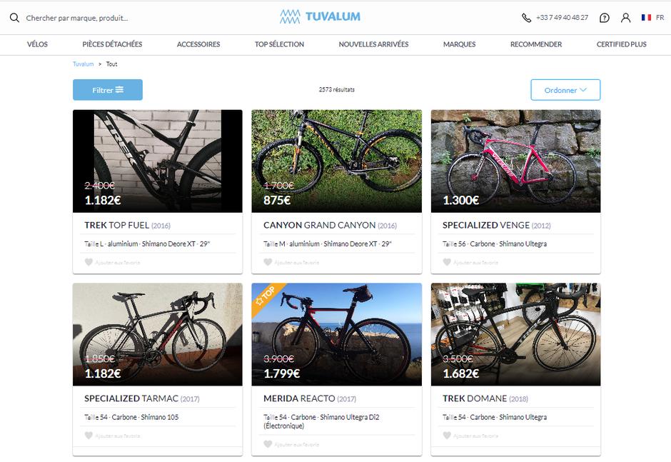 Annonces de vélos de course et de VTT d'occasion