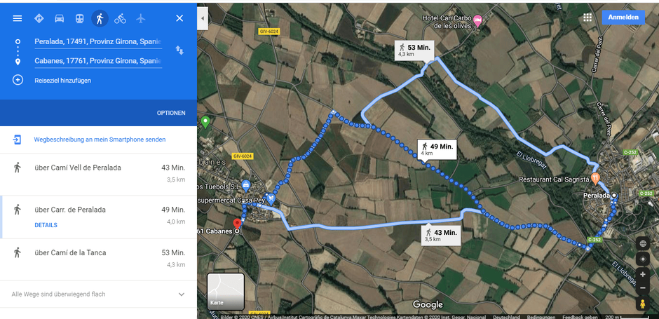 Nehmt die 4,3 km lange Wanderroute, weil die andren Beiden an einer Landstraße entlang führen