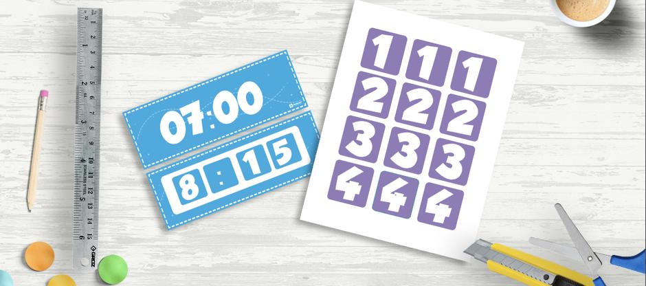 Números recortables para las horas especificas horario mural gratis