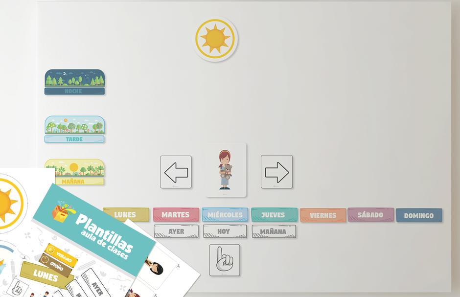 Descarga gratis letras Mural interactivo para imprimir días, meses, estaciones