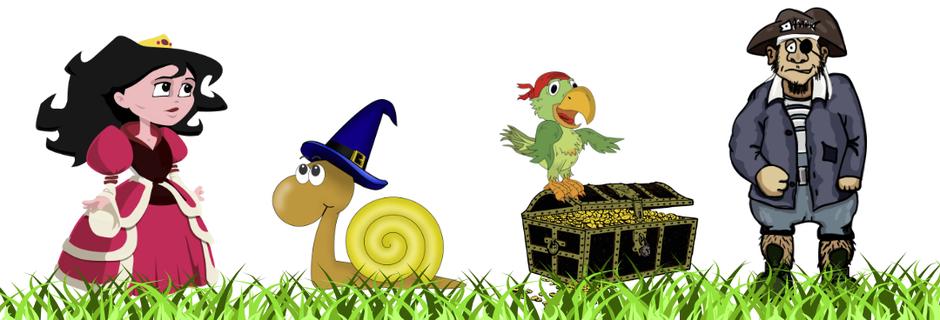 Unser Gripsy-Rätselwerkstatt Startbild mit einer Prinzessin, einer Schnecke und einem Piraten mit Papagei und Schatztruhe.