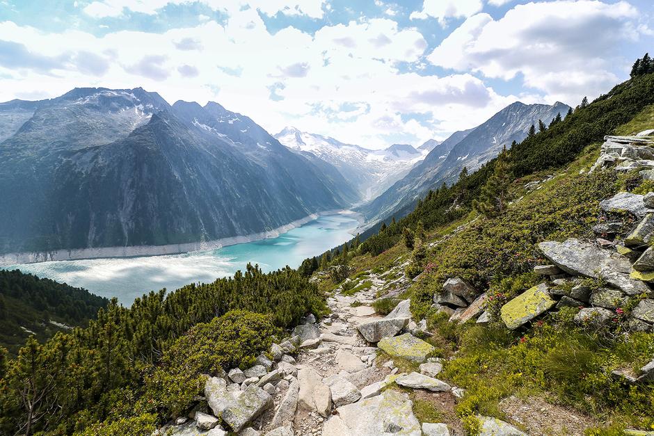 Schlegeisstausee Zillertal Tirol Bergurlaub mit Hund Urlaub mit Hund Wandern mit Hund