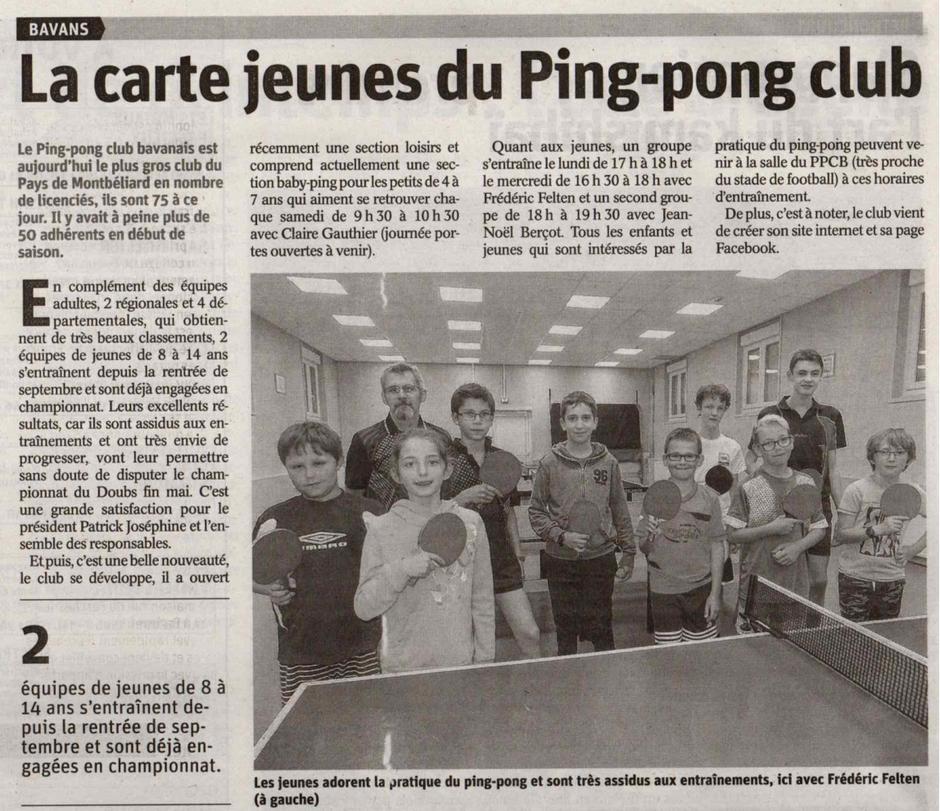 La carte jeunes du Ping-Pong Club de Bavans
