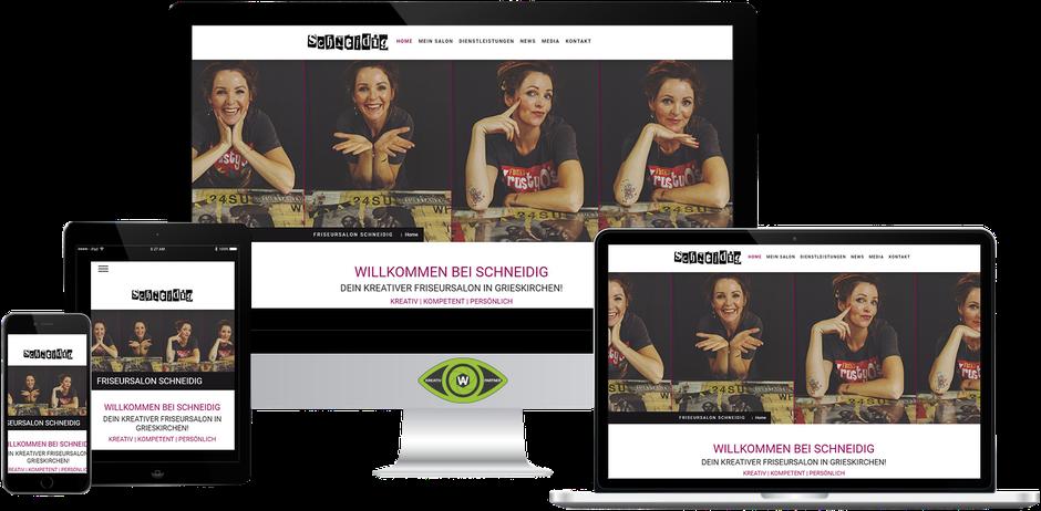 Kreativ-Partner AW (Albert Wiesinger) - Werbeagentur in Eferding (Oberösterreich) - Referenz Friseursalon Schneidig in Grieskirchen