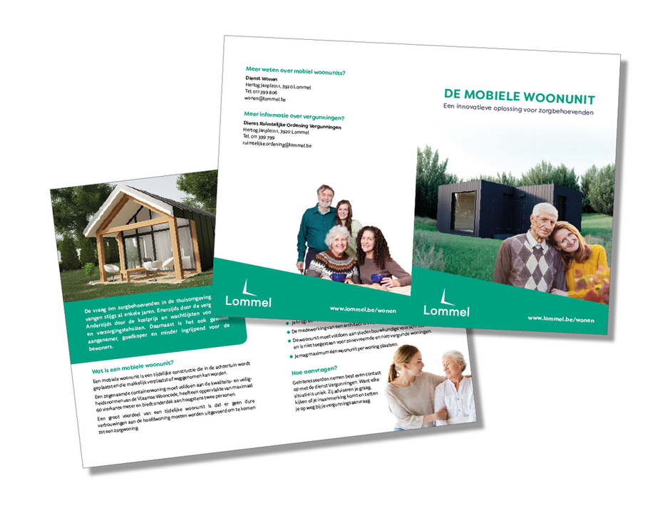 Dirk Van Bun Communicatie & Vormgeving - Infofolder Mobiele woonunits - Grafisch ontwerp & Illustratie - Reclame -  - publiciteit