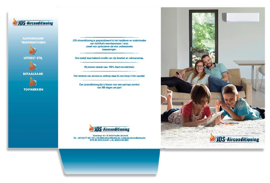 Van Bun Communicatie & Vormgeving - Grafische vormgeving - reclame - publiciteit - Grafisch ontwerp - Lommel - Plooimap JDS Aircondioning