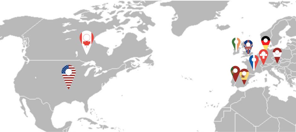 carte des destinations des séjours linguistiques à l'étranger