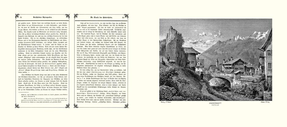 Nachdruck einer Original-Doppelseite mit Stahlstich im Querformat