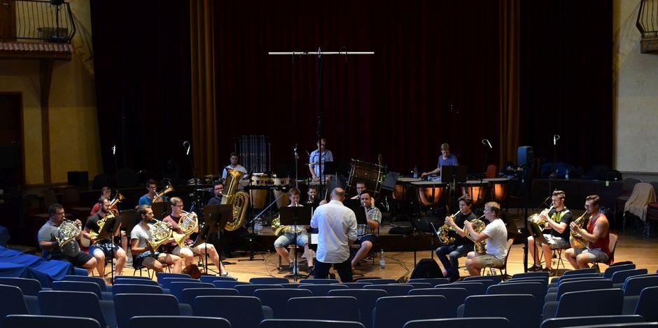 Das Ensemble Lake Brass bei der Einspielung ihrer CD im Juli 2018
