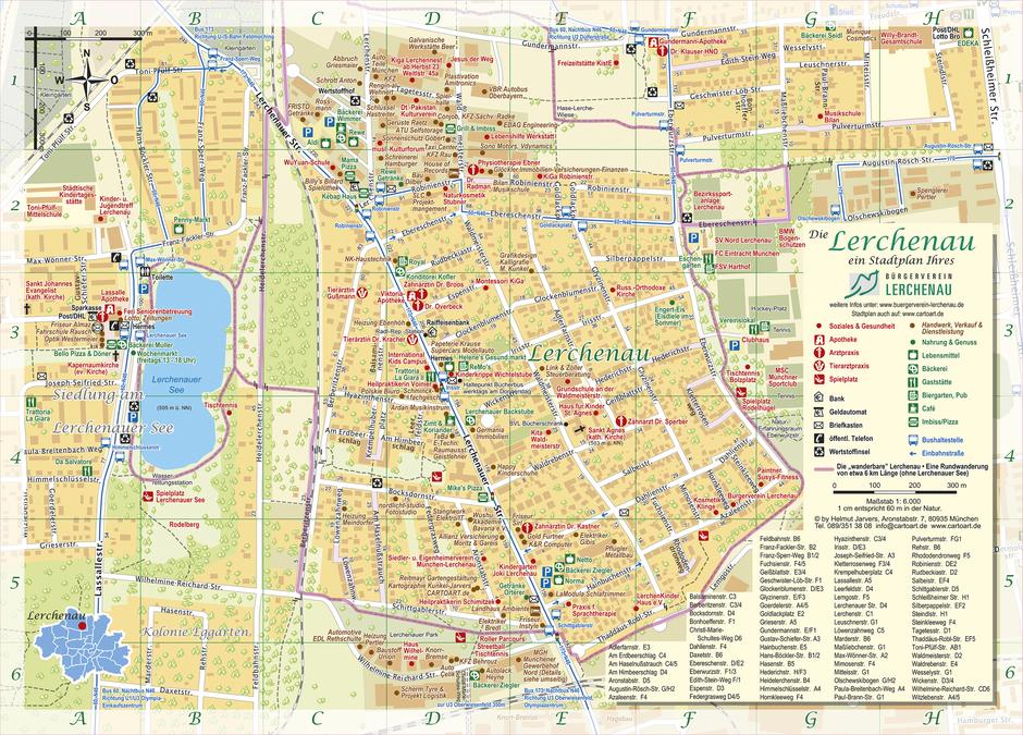 Informativer Stadtplan der Lerchenau, ein Service des Bürgervereins Lerchenau © Helmut Jarvers