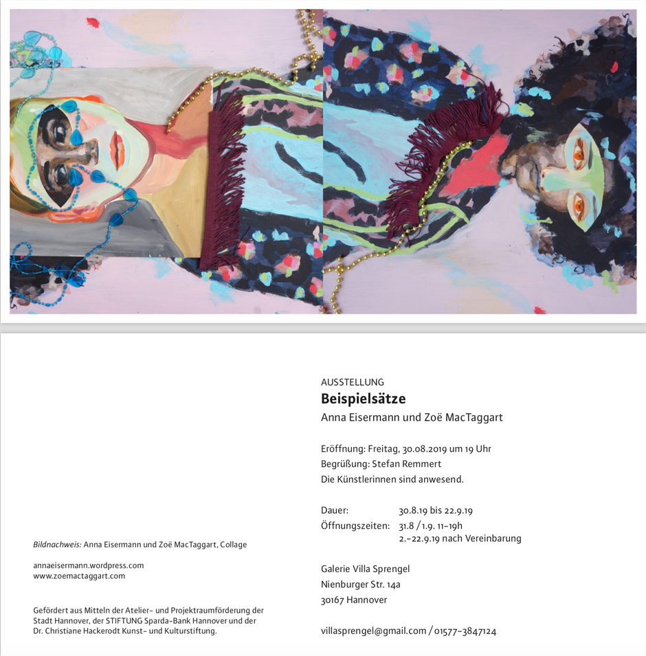 Ausstellungseinladung zu Beispielsätze von Anna Eisermann und Zoë MacTaggart am 30. August 2019 um 19 Uhr in der Galerie Villa Sprengel in Hannover.