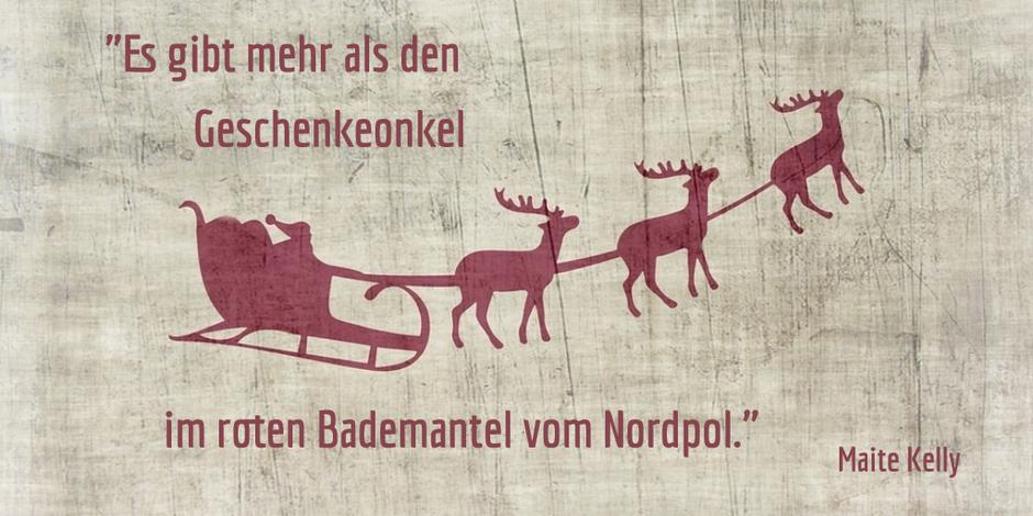 Ein dunkelroter Abdruck vom Weihnachtsmann im Schlitten mit Rentieren auf einem Holzuntergrund.  (Bildquelle: pixabay)