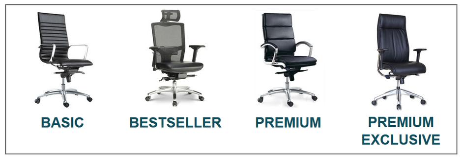 Übersicht Bürostuhl, Chefsessel, ergonomischer Stuhl von Basic bis Premium Excklusive