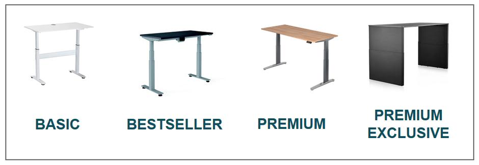 Übersicht Höhenverstellbarer Schreibtisch von Basic bis Premium Exclusive