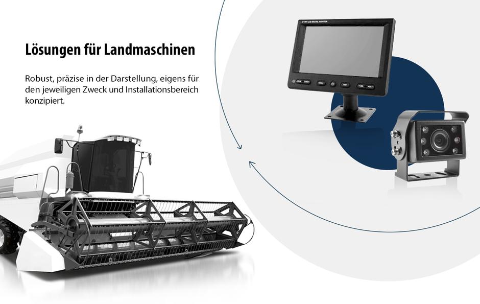 Kamera und Monitor Lösungen für Mähdrescher, Maishäcksler, Traktoren und andere Agrarmaschinen