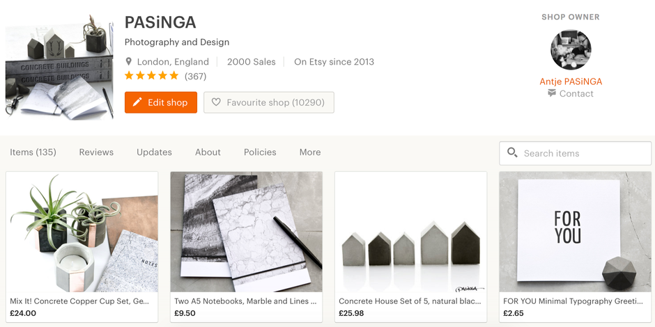 Milestone Capture - PASiNGA reaching 2000 sales on Etsy