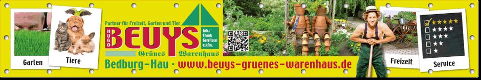 Gestaltetes PVC-Firmenbanner in der Größe 5000 x 800 mm des Grünen Warenhauses Beuys.