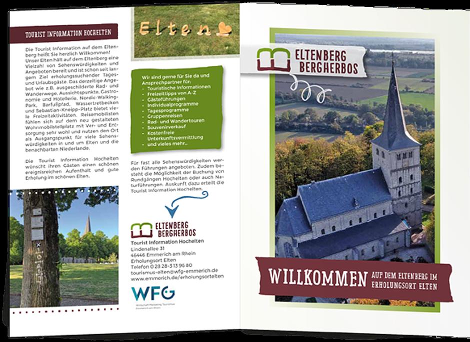 Aufgeklappte Broschüre für den Tourismus in Eltenberg und Bergherbes/NL.