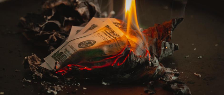 Cash burn and burning banknotes