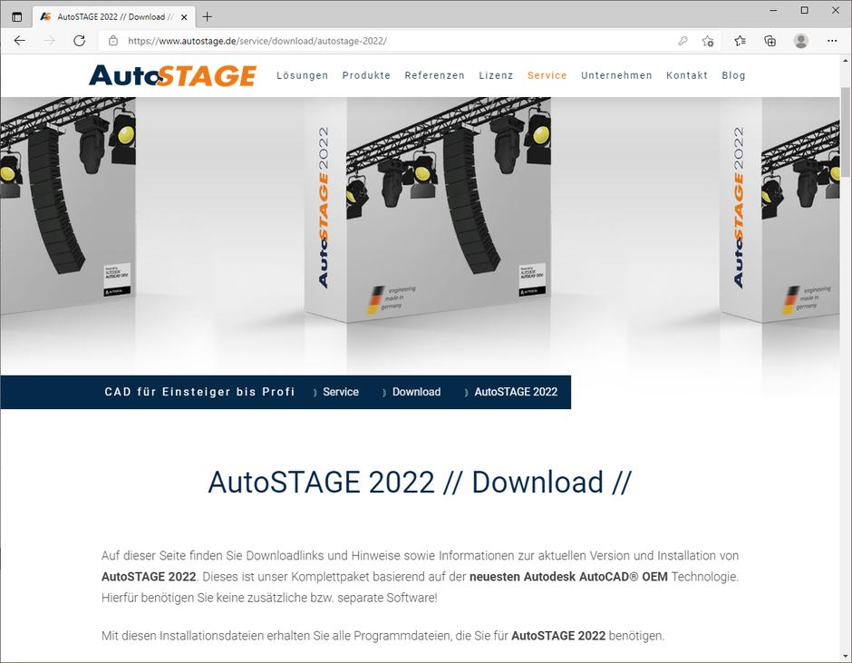 Anzeige der entsperrten Downloadseite von AutoSTAGE 2022
