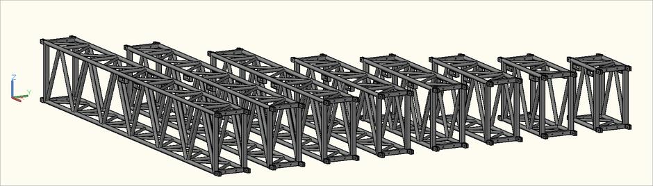 3D-Ansicht der S-M1010 Rect (S-RTD) Traversen in der Zeichnung