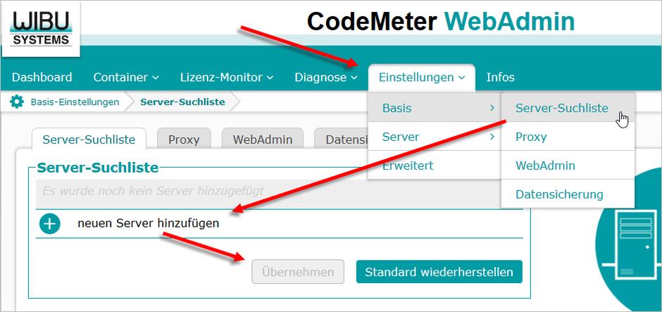 AutoSTAGE CodeMeter WebAdmin Lizenzserver zur Server-Suchliste hinzufügen