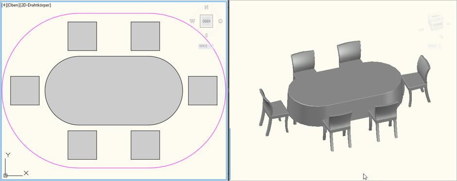 Dinnertisch Oval 2,4m x 1,2m für 6 Personen