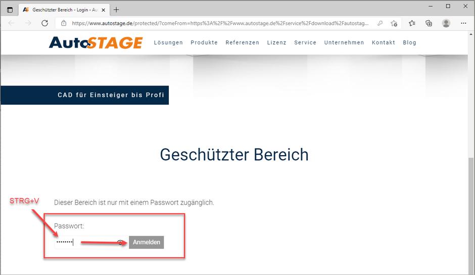 Eingabe des Passworts für die Downloadseite mit STRG+V