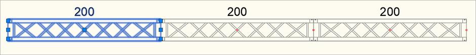 Eingefügte Traversen-Symbole mit den entsprechenden Griffen bei einem ausgewählten Symbol