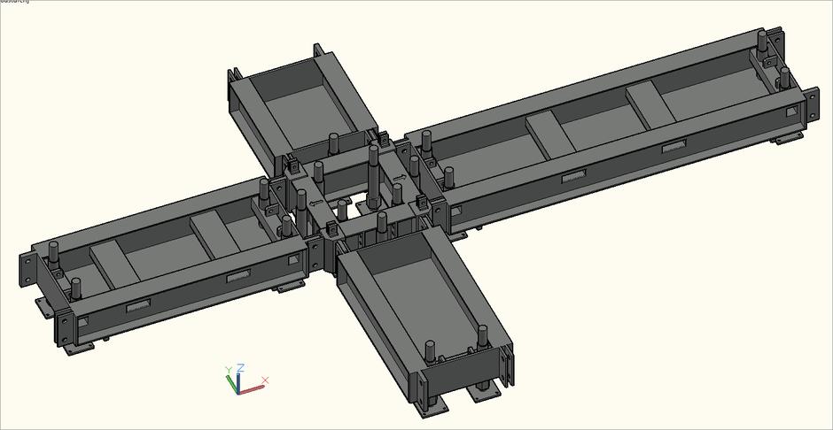 3D-Ansicht von Base und Outrigger des S-MT-Q Steel Tower