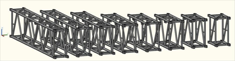 3D-Ansicht der S-M1450 Rect (S-RTW) Traversen in der Zeichnung