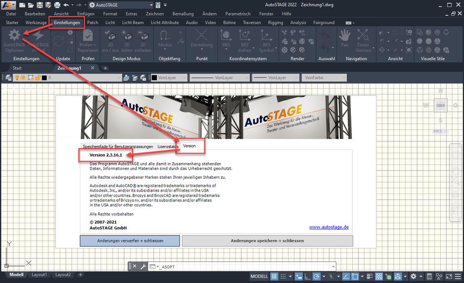 Anzeige der installierten Version von AutoSTAGE mit ASOPT