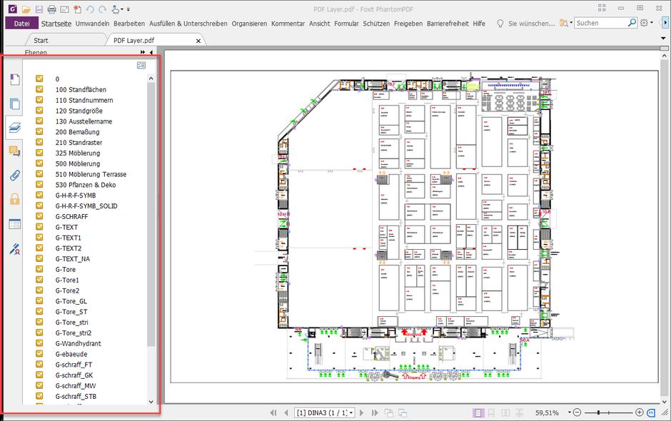 Anzeige der ausgedruckten PDF-Datei mit den Layern in einem PDF-Viewer
