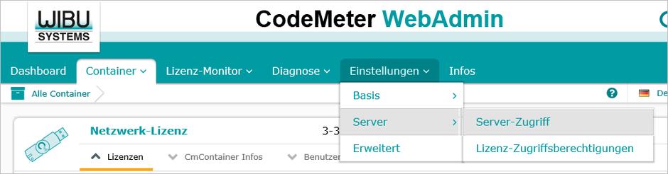 AutoSTAGE CodeMeter WebAdmin Server-Zugriff einrichten