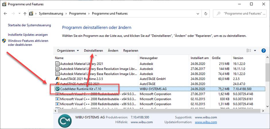 Deinstallation der CodeMeter Runtime aus der Systemsteuerung