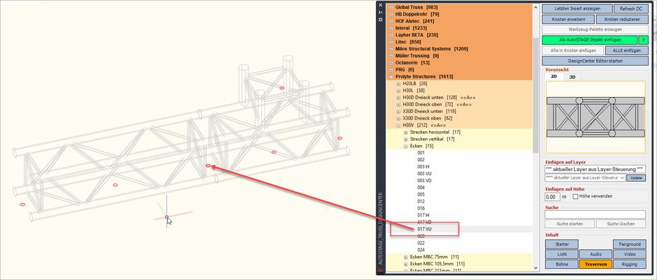 Bild 3 - Einfügen eines Traversenelements in der 3D-Ansicht