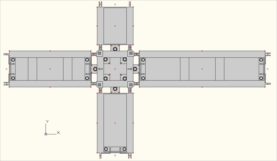 2D Draufsicht von Base und Outrigger des S-MT-Q Steel Tower