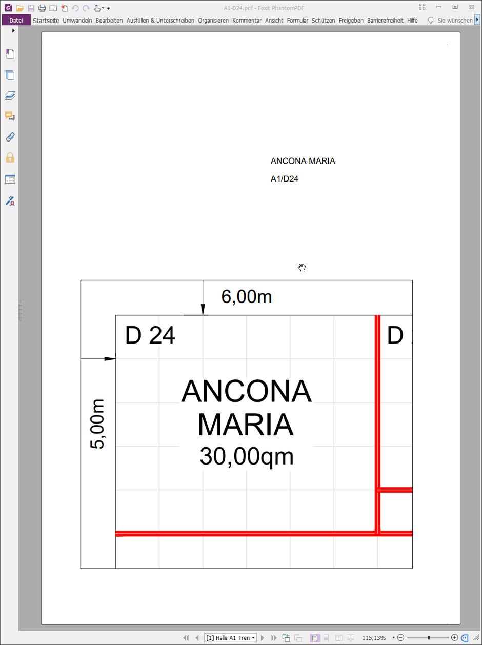 Ansicht des Messestand Layouts als PDF-Datei