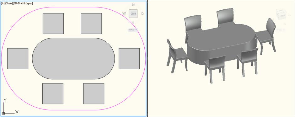 Dinnertisch Oval 2,0m x 1,0m für 6 Personen