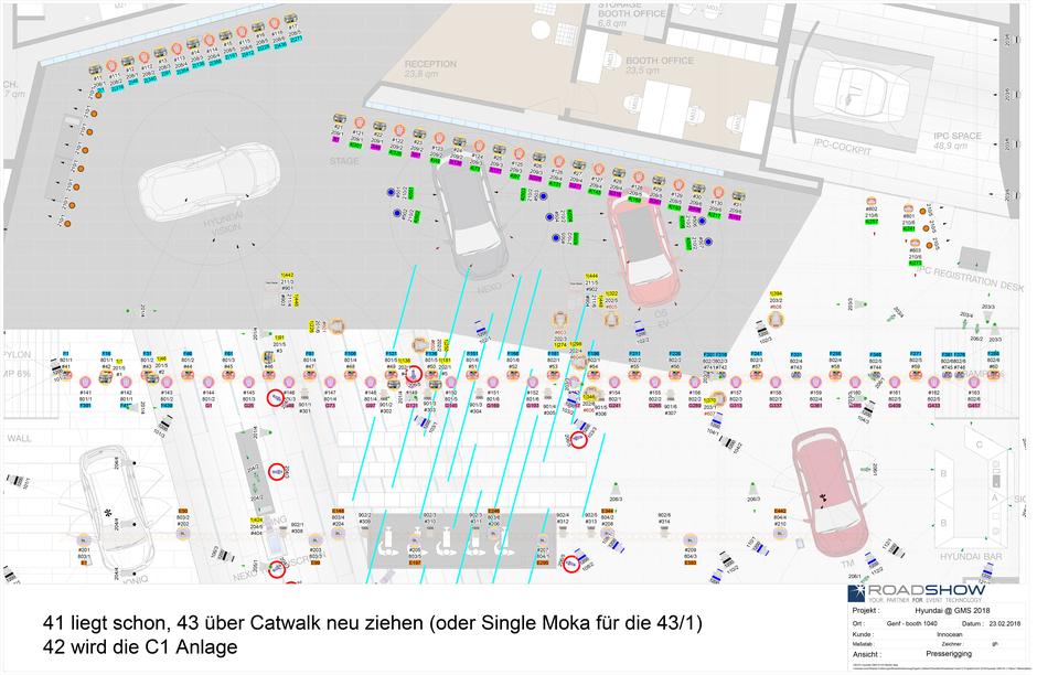 Hyundai Genf Motor Show 2018 - Detail Presserigging DIN A2, erstellt mit AutoSTAGE