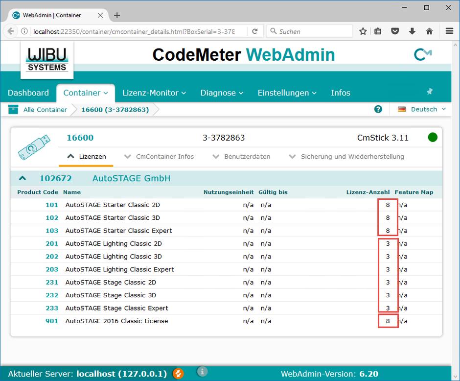 Übersicht der Netzwerklizenzen in einem Lizenz-Container