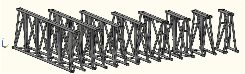 3D-Ansicht der S-M2000 Trio (S-FTZ) Traversen in der Zeichnung