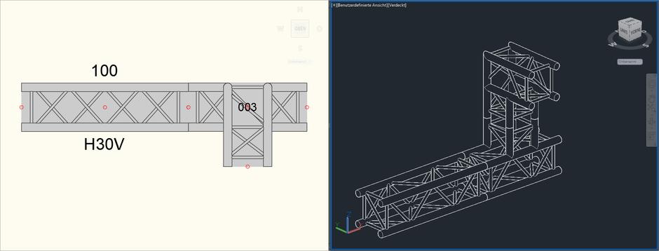 Bild 7 - Korrekte Ansicht der 90-Grad-Traversenecke in der 2D- und 3D-Ansicht
