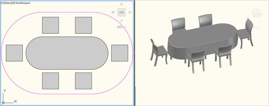 Dinnertisch Oval 2,5m x 1,0m für 6 Personen