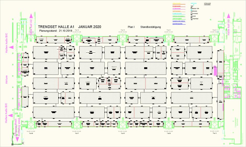 Übersicht einer Flächenplanung für die TrendSet im Januar 2020 in München
